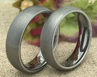 6mm His and Hers Wedding Rings, Personalized Custom Engraved Tungsten Rings, Classic Dome Wedding Rings, Promise Ring, Couples Ring Sets