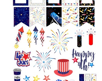Instant Download Fourth of July Layout/Fourth of July Planner Stickers with Cut File/Happy Planner Stickers/Printable Planner Stickers