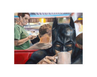 Batman Needs Coffee - Superhero Batman Art Print (Unframed)