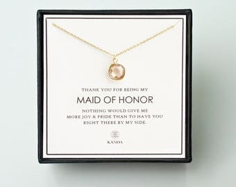 Maid of Honor Gift - Gold Glass Necklace, Maid of Honor Necklace/ Maid of Honor Jewelry & Thank You Card/ Wedding Jewelry for Maid of Honor