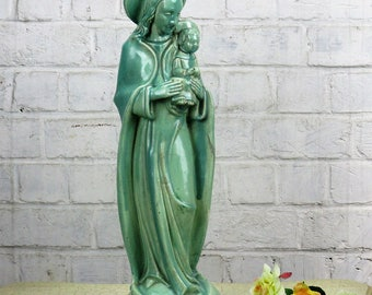 """Statue Flemish Pottery Poterie Flamande Madonna Virgin Mary Infant Child 20.47"""""""