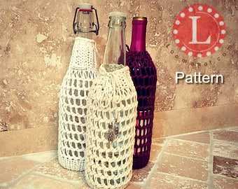 Loom Knitting Pattern Wine Bottle Mesh Sleeve Cover | Water bottle cover | Knitting Gift |With Video Tutorial | Loomahat