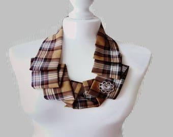 Camel Stewart Scottish tartan dress collar necklace