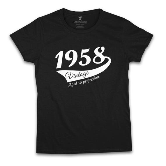 60th Birthday Gift For Woman 1958 Vintage   T shirt woman turning 60, Antique Cherry Red, Indigo Blue, Purple Sizes S-2XL