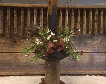 Primitive Antique Wooden Spool Timer Candle Mantle Shelf Home Decor Accent