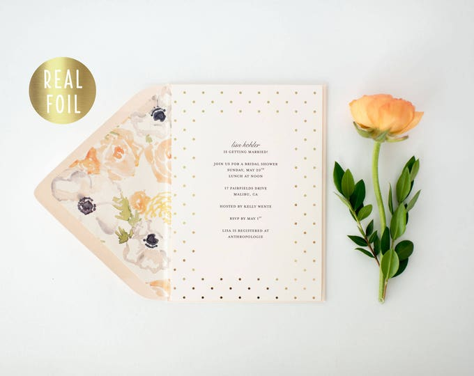 gold foil floral bridal shower / baby shower invitations  - customizable (sets of 10)  //  watercolor floral gold foil blush shower invite