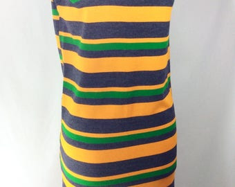 1960s Knit Collared Mini Dress with Yellow/Green/Grey Stripes size S