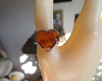 Genuine Baltic Amber HEART  925 Solid Sterling Silver Ring Size 8, Wt. 3.5 Grams