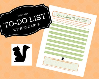 8.5x11, Rewarding to do list, Printable to-do list, task list with rewards, ADHD, increase productivity, to do list with incentives, chore
