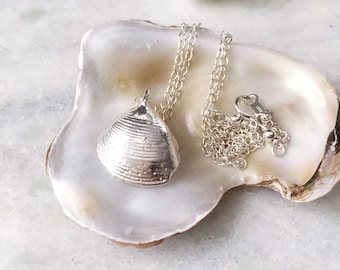 Seashell Necklace, Silver Shell Necklace, Silver Seashell Necklace, Silver Dipped Necklace, Bridal Beach Jewelry, Natural Seashell