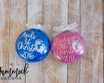 first Christmas, Christmas ornament, babys first Christmas ornament, baby ornament, baby's first, custom ornament, 2017 Christmas ornament