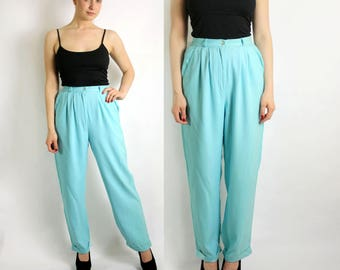 Vintage 80's Pure Silk Turquoise High Waist Pants Tapered Leg