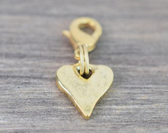Rustic Heart Charm - Gold - Collar Charm - Dog Collar Charm - Cat Collar Charm - Bridle Charm