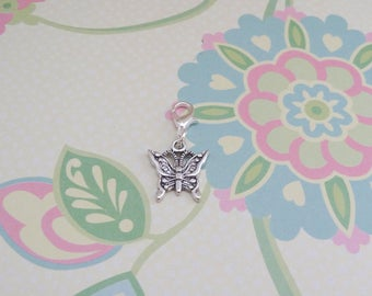 Silver Butterfly Clip On Bracelet Charm/Purse Charm/Zipper Pull Charm/Planner Charm/TN Accessory Charm - Ready to Ship