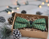 Christmas Bow Tie. Green Gold Bow Tie. Festive Bow Tie