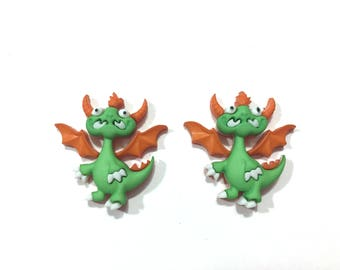 Dragon Buttons Jesse James Buttons Dragon Tale Dress It Up Buttons Set of 2 Shank Back GREEN - 181