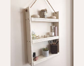Rope hanging wood shelf - bathroom shelf- rustic shelf - spice rack - kitchen shelf - farmhouse decor -  bathroom storage