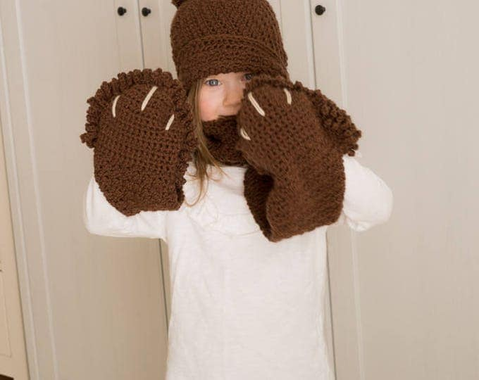 Sale! CROCHET PATTERN bear cloche and pocket scarf set Penny (toddler and kids sizes)