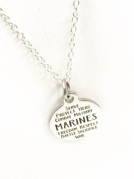 Marines Necklace, Marines Jewelry, Marines Words, Marines Gifts, Marines Wife Necklace, Marines Girlfriend Necklace, Marines Mom Gift