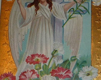ON SALE till 7/28 Angel With Dove and Easter Lily Antique Pstcard