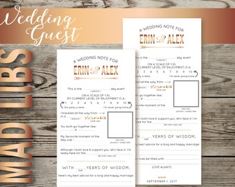 Cute Wedding Guest MadLibs | Customized Mad Libs | Custom Wedding Stationery | Advice for the Bride & Groom