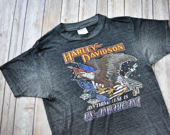 80s DISTRESSED HARLEY DAVIDSON T-Shirt // Paper Thin // See Through // Anything Else is Un-American // Worn In // Size Small Womens Mens