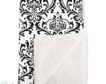 Black and White Damask Sherpa Baby Blanket | Damask Baby Girl Blanket | Damask Baby Blanket