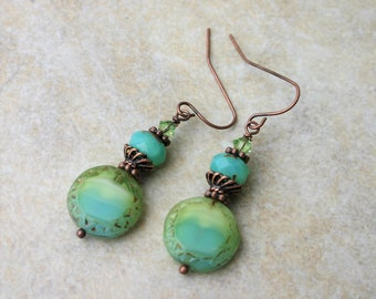 Turquoise and Lime Green Glass Dangle Earrings,  Turquoise and Copper Earrings, Lime Green and Copper Earrings