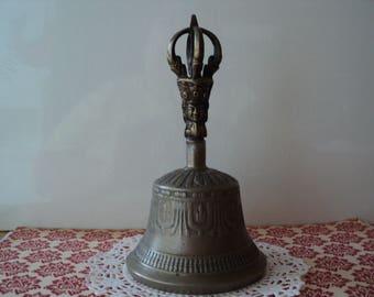 Brass Bell Tibetan Buddhist Meditation Prayer Bell Ornate Temple Bell Old Worn Patina Blessed Spiritual Tone Thoughtful Home Decor Gift