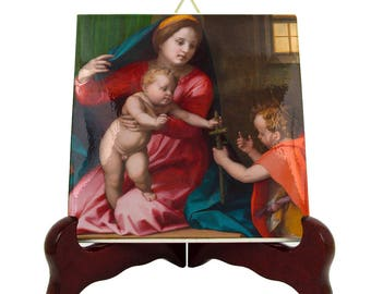 Madonna and Child with Saint John the Baptist - catholic icon on tile - catholic art - from a religious painting by Andrea Del Sarto - holy