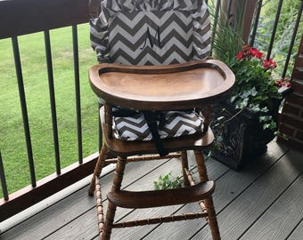 Wooden Highchair Cover/Cushion/Pad: Brown Chevron for wooden/vintage highchairs. Removable foam . Optional monogramming.