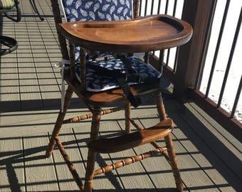 High chair cushion / wooden high chair pad/highchair cover / highchair cushion / highchair pad / vintage. Navy Paisley
