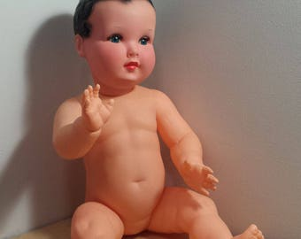 Convert and Company France large vintage Celluloid Baby Doll, Windmill Symbol French Doll