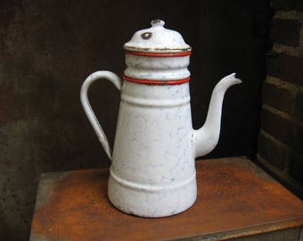 French Graniteware Coffee Pot with 4 parts. Red trim, baby blue speckling on white enamel. Use as garden watering can. Antique from France.