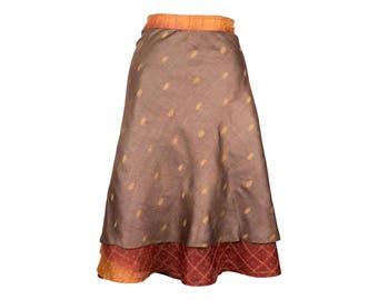Silk Wrap Skirt, Wrap Skirt, Unique Clothing, Travel Skirt, Boho Skirt, Reversible Brown Skirt, Plus Size Skirt, Silk Wrap Skirt, Silk Skirt