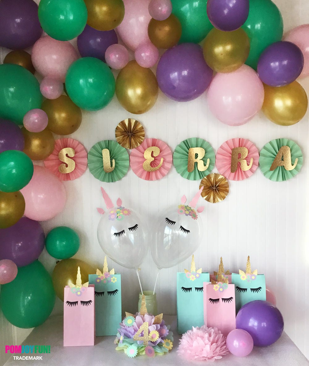 Unicorn balloon arch kit unicorn birthday party for Balloon decoration kits