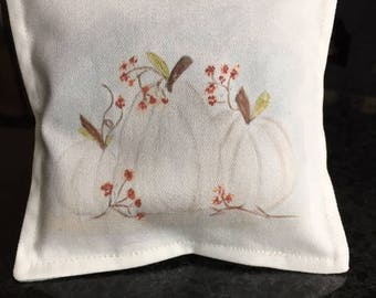 Sachet, sachet gift, lavender sachet, hand painted sachet, watercolor sachet, fall pumpkin sachet, autumn sachet