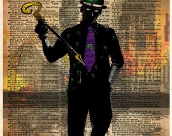 The Riddler art print, batman villain art, superhero splatter art print