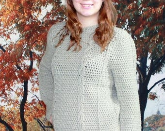 Double Cable Crocheted Sweater Pattern