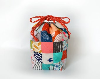 Sock yarn bag, knitting project bag, gift for knitter, crochet project bag, drawstring pouch, yarn bag