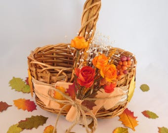 Fall Flower Girl Basket - Autumn Wedding - Fall Wedding Accessories - Wedding Basket - Fall Decor - Home Decoration - October - September