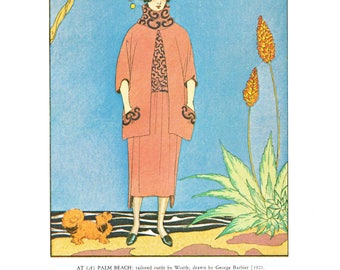 Lady with dog at Palm Beach George Barbier French fashion illustration La Gazette du Bon Ton evening gown Art Deco Art Nouveau vintage 1979