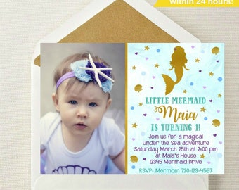 Mermaid Photo Invitation // Mermaid Photo Invite // Mermaid Invitation // Mermaid Birthday Party // Under the Sea Invitation // Mermaid Pool