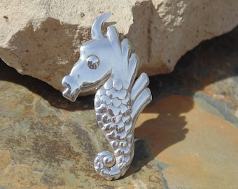 Mexico Silver ~ Vintage Scaled Seahorse Pin / Brooch with C - Clasp  c. 1940's