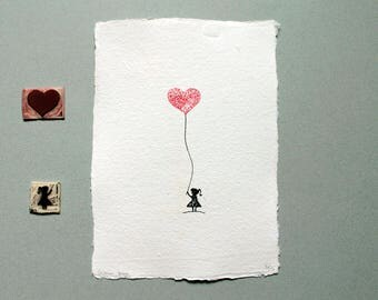 Linocut Print, Limited Edition, Heart Balloon Girl, Cotton Rag Paper, Minimal Home Decor, Little Girl, Father's Day