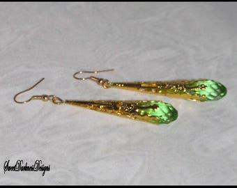 AUGUST BIRTHSTONE EARRiNGS  Absinthe Fairy Earrings Victorian Filigree Earrings Peridot Earrings Gold Earrings by SweetDarknessDesigns