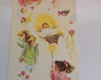 Vintage Christmas card angels unused+env