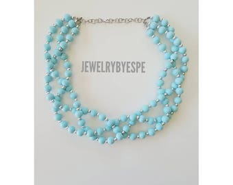 Baby Blue Necklace, Statement Necklace, Sky Blue Necklace, Blue Wedding Jewelry, Turquoise Necklace, Blue and Silver, Multi Strands