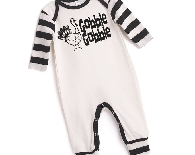 CLEARANCE! Newborn Thanksgiving Romper Black and Ivory, Baby Boy and Girl Thanksgiving Bodysuit, Turkey, Black Stripes, Tesababe