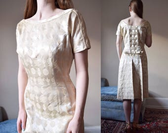 50s Lilli Ann Party Dress // 1950s Gold Brocade Wiggle // S